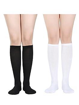 Women Knee High Socks Boot Socks Halloween Socks Cosplay Stockings  Black and White