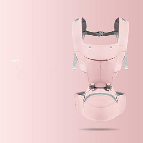 HUUH Mochila portabebés multifunción de algodón premium ajustable, cómodo diseño ergonómico sin esfuerzo, protección de seguridad adecuada para bebés con 0-20 kg todas las estaciones, Material, Rosa, Size