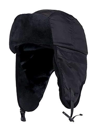 HEAT HOLDERS HEAT HOLDERS - Herren warm Winter gefüttert wasserdicht schwarz fliegermütze (Black (Trapper), Small/Medium)