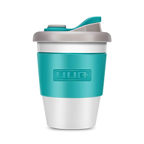 UUQ Reusable Coffee Cup Coffee Cups With Lids, Can Be Used As a Travel Mug or Office Coffee Mug, Lightweight, Eco Friendly, Non-Slip Silicone, 12oz (Blue-green)
