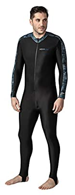 Aqua Blue Sport Skin Spandex Super-Stretch Body Suit, Perfect for Surfing, Diving, Snorkeling, All Water Sports. 50+ UPF (Black CAMO, L)