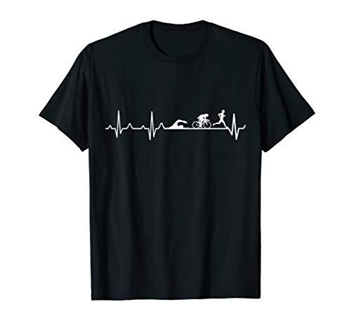 Triathlon Herzschlag T-Shirt, Triathlon Geschenk Shirt T-Shirt