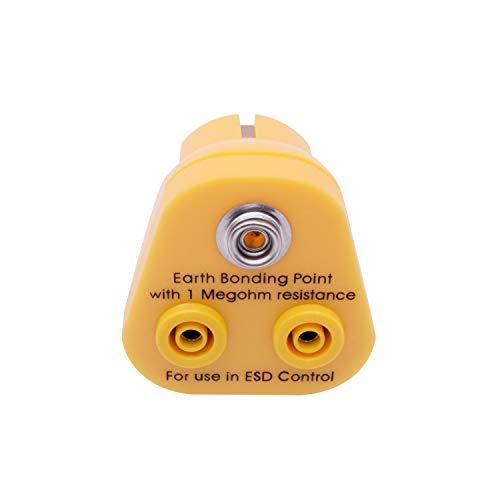 QUADRIOS GmbH ESD Erdungsstecker 2 x Bananenbuchse, 1 x 10 mm Druckknopf Erdungsbaustein Schutzkontakt-Stecker professionelles Antistatik Zubehör (Norm-konform EN 61340-5-1)