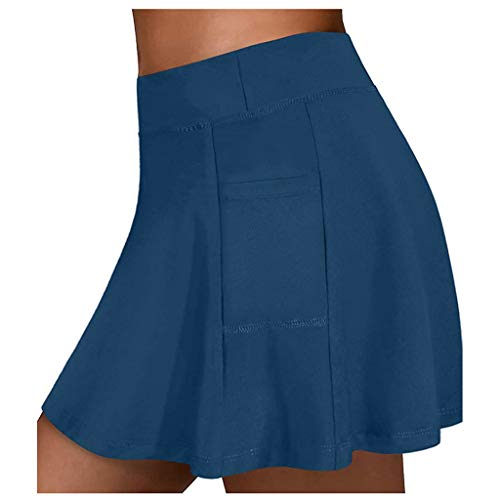 MOTOCO Women's Versatile Stretchy Flared Casual Skater Skirt Tennis Skirts Culottes with Pockets(XL.Blue)