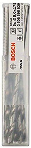 Bosch Professional Metallbohrer HSS-G geschliffen mit langer Arbeitslänge (5 Stück, Ø 9 mm)