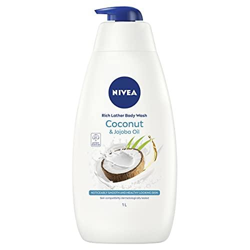 NIVEA Indulgent Moisture Shower Cream Coconut (1L), Moisturising Shower Gel with Jojoba Oil