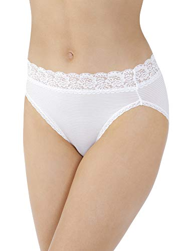 Vanity Fair Women's Flattering Lace Panties with Stretch, Hi Cut - Nylon - White, 8