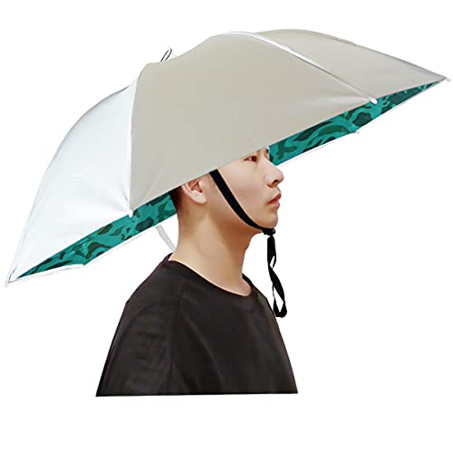 Qukipet Umbrella Hat, 37 inch Fishing Umbrella Cap for Adults and Kids, Elastic Folding Compact UV&Rain Protection Headwear for Fishing Golf Gardening Outdoor-Camouflage
