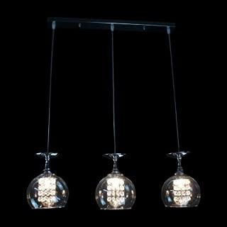hua Globe Pendant Light Features Three Crystal Lights Drop From Rectangular Steel Canopy
