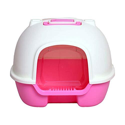 HAI RONG Caja de Arena Limpia Caja de Arena de Gato, Inodoro de Gato Totalmente Cerrado, Anti-saltación y desodorantes. Caja para Mascotas Interior Premium (Color : Pink)