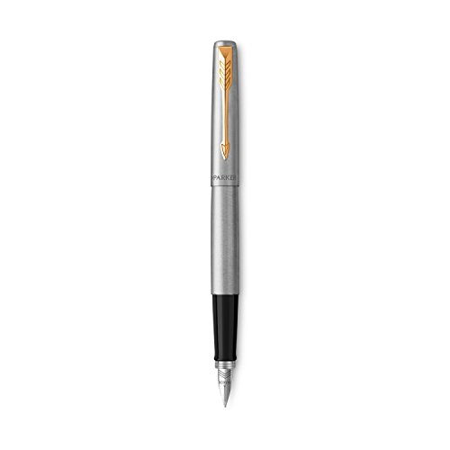 Parker Jotter Penna Stilografica in Acciaio Inox con Finiture in Oro, Confezione Regalo