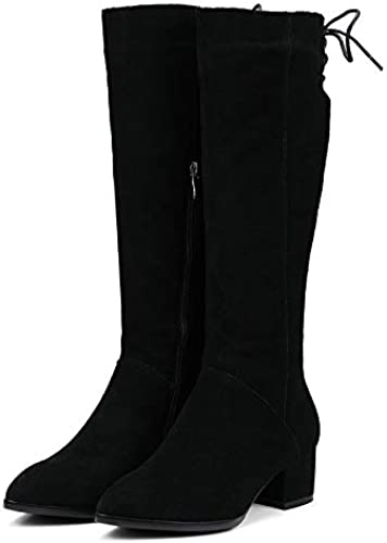 HOESCZS 2019 Westrn Style Zipper Femmes Genou Genou Bottes De Mode Ziper Carré Talon Haut Bout Pointu Véritable Femmes Bottes Taille 34-39  réductions incroyables