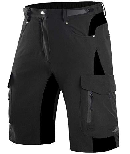 Wespornow Herren MTB Hose Kurz Schnelltrocknend-Atmungsaktiv Mountainbike Hose-MTB Shorts mit Verstellbaren Klettverschlüssen-Elastische Fahrradhose (Schwarz-1, XXXL)