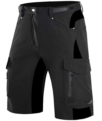 Wespornow Mountain-Bike-MTB-Shorts for Men (Black, XL)