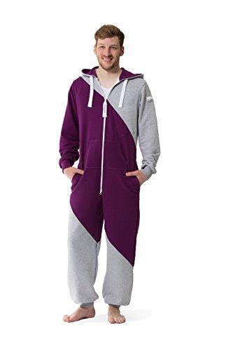 Jumpster Jumpsuit Second Generation Damen Herren Unisex Overall Onesie Slim Fit Mashup Purple-Gray Violett-Grau M