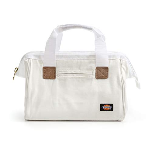 Dickies 12-Inch Durable Canvas Work Bag for Painters, Carpenters, and Builders, Heavy-Duty Zipper, Reinforced Handles, White
