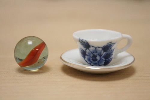 陶器 ミニチュア陶器 白 W01 カップ&ソーサー ブルー ローズ柄 チャイナペイントOK! 日本製 ミニチュア食器