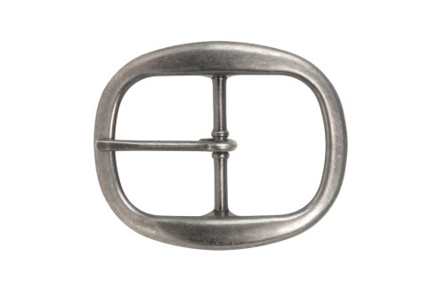 1 1/2 Inch Nickel Free Center Bar Single Prong Oval Belt Buckle, Antique Silver