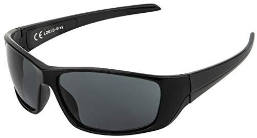La Optica B.L.M. UV400 CAT 3 Unisex Damen Herren Sonnenbrille Sportbrille Fahrradbrille Auto - Schwarz (Gläser: Grau)