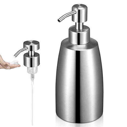 SISVIV Dispensador de Jabón Líquido 400 ml + Bomba de Espuma Acero Inoxidable 304, Dosificador de Jabón para Detergente Champú Loción Baño, Cocina, Hoteles Platos