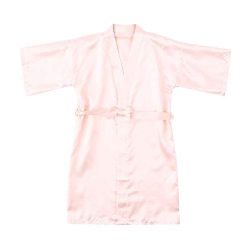 Nachtkleding mouwen binden dunne gebreide jas badjas kleine kinderen baby kinderen meisje Silk Satin Kimono Roben kleding 12 beige