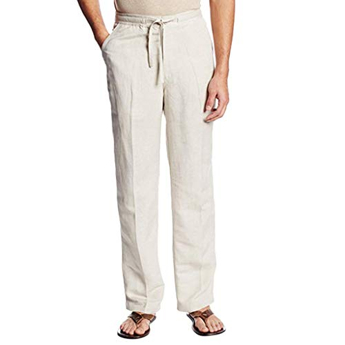 ZODOF Pantalones de Chino de algodón para Hombre, Casuales, de Lino, Pantalones Largos, con cordón de Ajuste, Sueltos, para Verano, Playa, cómodos, Color sólido, Pierna Recta,Blanco