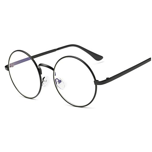 LOVEF Large Oversized Metal Frame Clear Lens Round Circle Vintage Eye Glasses 5.42inch (Black)