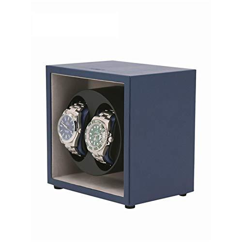 Caja para Relojes Double Reloj Automático Winder, 2 + 0 Relojes Cajas De Almacenamiento 5 Modos De Rotación(Color:Azul)