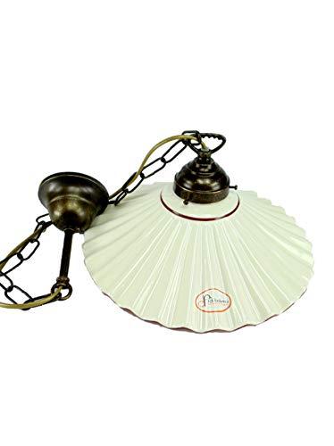 Lampadario ottone brunito stelo catenella una luce stile liberty con piatto ceramica bordato marrone l1012 Misure:H 74cm,Ø piatto 29cm.Le misure sono con piatto.Portalampade attacco Edison E 27