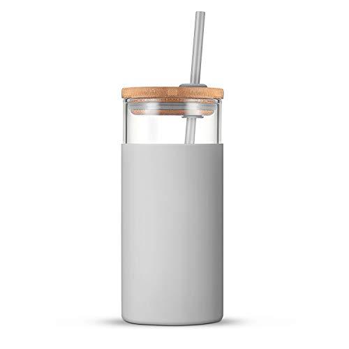 tronco Glas-Trinkhalm, Silikonhülle, Bambusdeckel, BPA-frei, Grau, 590 ml