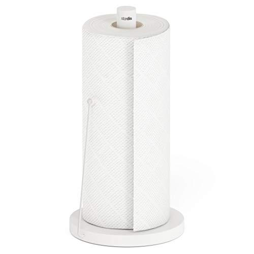stardis Küchenrollenhalter Simply Edelstahl matt gebürstet Rollenhalter Stabil Und Langlebig Papierrollenhalter (weiß)
