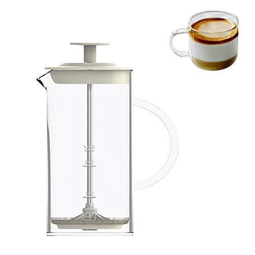 Montalatte Pitcher Manuale Latte Creamer Pompa a Mano Cappuccino Latte caffè Schiuma con Manico, Coperchio, Vetro borosilicato Latte Foamer con Maglia fine Sieve caffè Frother WTZ012
