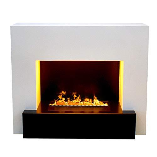 GLOW FIRE Hauptmann Elektrokamin Opti Myst Cassette 500 3D Wasserdampf Feuer, elektrischer Standkamin mit Fernbedienung, Regelbarer Flammeneffekt, 110 cm, Weiß