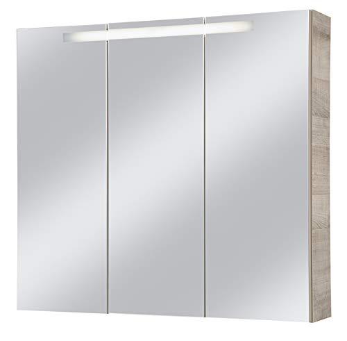 FACKELMANN Spiegelschrank PIURO/Badschrank mit Soft-Close-System/Maße (B x H x T): ca. 79,5 x 73,5 x 17 cm/hochwertiges Möbelstück mit 3 Türen/Korpus: Braun hell/Front: Spiegel