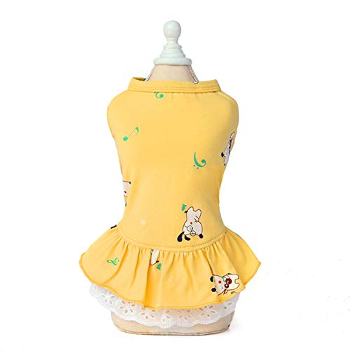 sunnyday-shop Cute Print Pet Dresses for Small Dogs Cotton Dog Cat Dress Skirt French Bulldog Shih Tzu Mascotas Clothes Puppy Clothing-Yellow Puppy-S