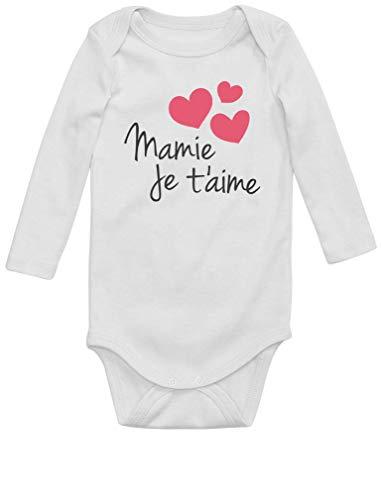 Mamie Je t'aime Cadeau Mamie Original Body Bébé Manche Longue 12M Blanc