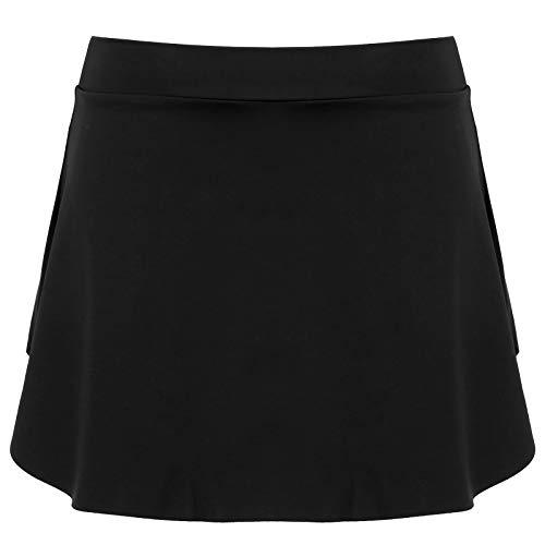YOOJOO Womens Girls Pull On Ballet Dance Wrap Skirt Elastic Waist Mini Skirt for Dancing Black M