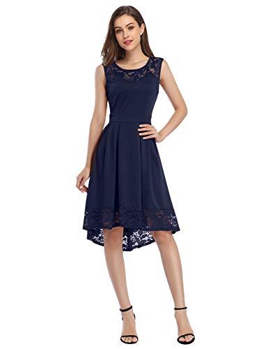 KOJOOIN Damen Elegante Abendkleider Brautjungfernkleider aus Spitzen für Hochzeit Knielange Abschluss Kleider Dunkelblau 【EU 42-44】/L