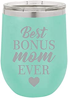 12 oz Double Wall Vacuum Insulated Stainless Steel Stemless Wine Tumbler Glass Coffee Travel Mug With Lid Best Bonus Mom Ever Step Mom Mother (Teal)