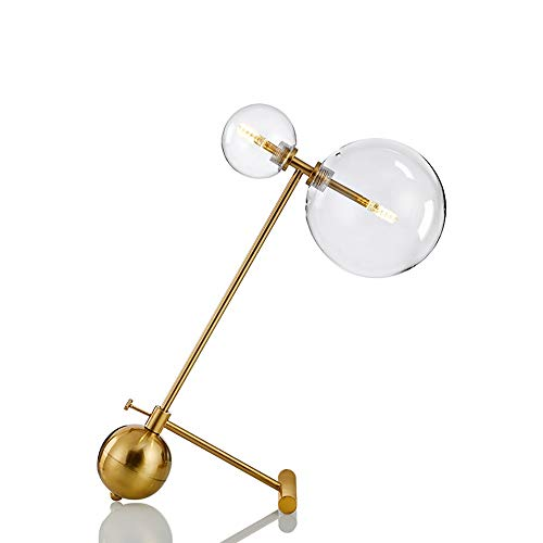 GDICONIC Table Lamp Lamp Postmodern Art Creative Decoration Small Table Lamp Hardware Lamp Body Bedroom Bed Glass Double Head Lamp Three Colors Light 35 * 43cm