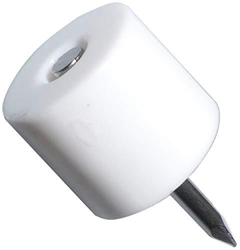 AERZETIX: 200x Portaestantes soporte para estante con clavo Ø12mm redondo Virelles de plástico blanco C41520