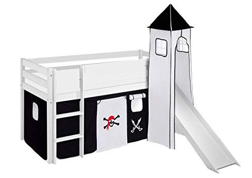 Lit de Jeu Jelle Pirate Noir Blanc – Lit Mezzanine Lilo Kids – Blanc – 90 x 190 cm avec Tour, Toboggan et Rideau