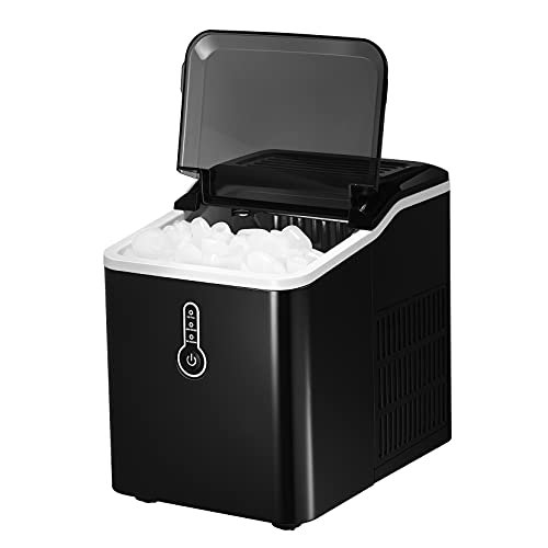 KINGSWERE Ice Maker Machine for Countertop, 26 lbs Bullet Ice Cube in 24H, Ice Machine with LED Display, 9 Ice Cubes Rready in 7 Mins with Ice Scoop and Basket for Home/Office/Bar/Party,Black
