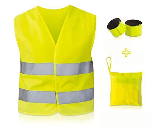 TN Sport Premium Warnweste für Kinder + 2 Reflektoren - Kinder Warnwesten, Reflektor Weste stark Sichtbar, Sicherheitsweste Warnwesten Kinder ISO Zertifiziert