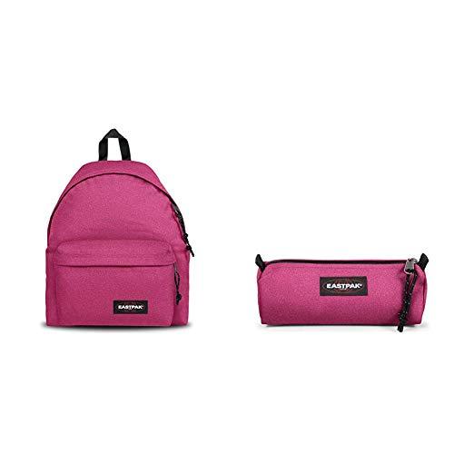 Eastpak Padded Pak'r Zaino, 40 cm, 24 L, Rosa (Spark Pink) + Benchmark Single Astuccio, 21 cm, Rosa (Spark Pink)