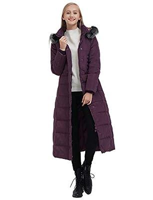 ilishop Women's Thickened Maxi Down Jackets- Hooded Long Down Jacket Winter Parka Puffer Coat (L, Purple)