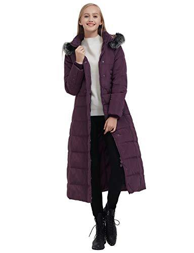 ilishop Women's Thickened Maxi Down Jackets- Hooded Long Down Jacket Winter Parka Puffer Coat (2XL, Purple)
