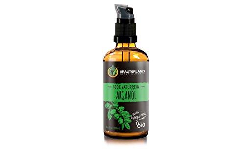 Kräuterland Arganöl, Bio Hautöl, 100ml, kaltgepresst, vegan, 100% naturrein aus Marokko, für...