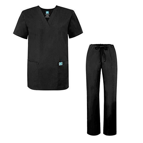 Adar Uniforms Unisex-Schrubb-Set - Medizinische Uniform mit Oberteil und Hose - 701 - Black - XL