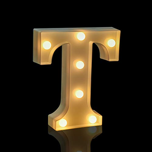 Fashlits LED Marquee Letter Lights Sign, Battery Powered Light Up Alphabet Letters for Bedroom Wedding Birthday Party Christmas Home Bar Decoration (T)